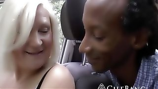 Black guy fucks hot granny in threesome