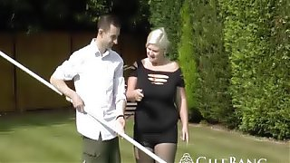 Lucky pool boy bangs horny big boobed granny