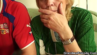 Skinny granny in stockings riding and sucking
