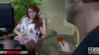 Hot mature temptress lets a guy taste her wet muff before great cock-riding