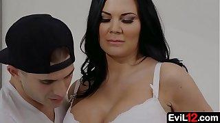 Dark haired busty stepmom fucks by her sexy stepson