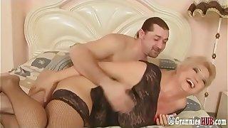 Young Italian Stud Banging Hot BBW Granny Blonde