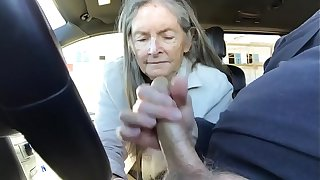 granny blowjob in car - cum