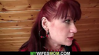 Brunette mom gets fucked after shaved pussy toying