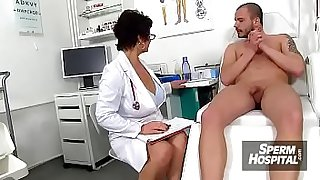 Blonde lady doctor Koko old with young CFNM exam and handjob