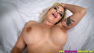 Step Mom Sara St. Clair Sucks my cock for the first time