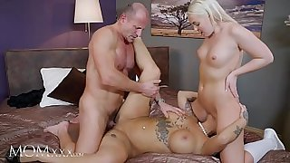 MOM.XXX 3some role play cute girl in uniform and mature Heidi Van Horny