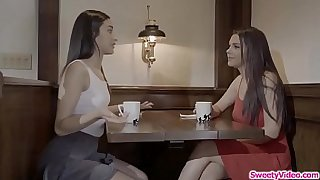 Brunette teen gets her ass toyed by her italian bff