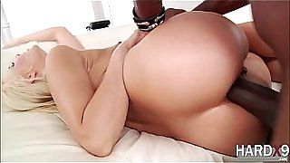 Blonde babe Anikka gets pounded by her lover with a big black cock