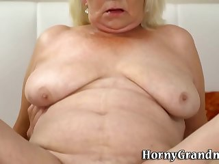 Gran with big saggy tits rides and sucks