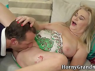 Fetish gran feet licked before fucking