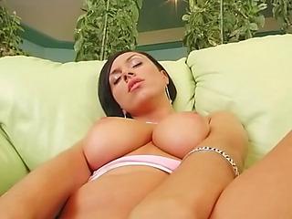 Gorgeous natural dark brown anal creampie